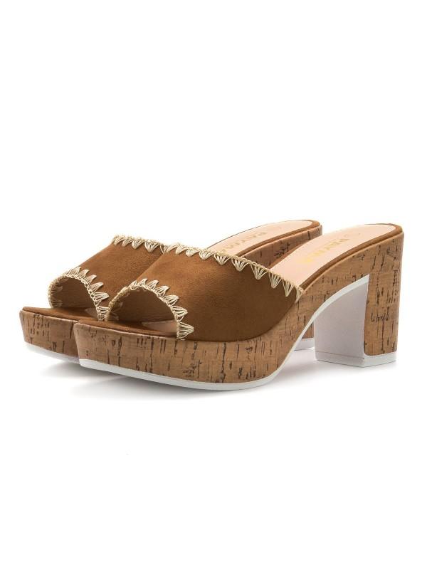 Sandalias de tacón con corcho, sandalias camel, Sandalias de mujer con plataforma, sandalias de tacón baratas