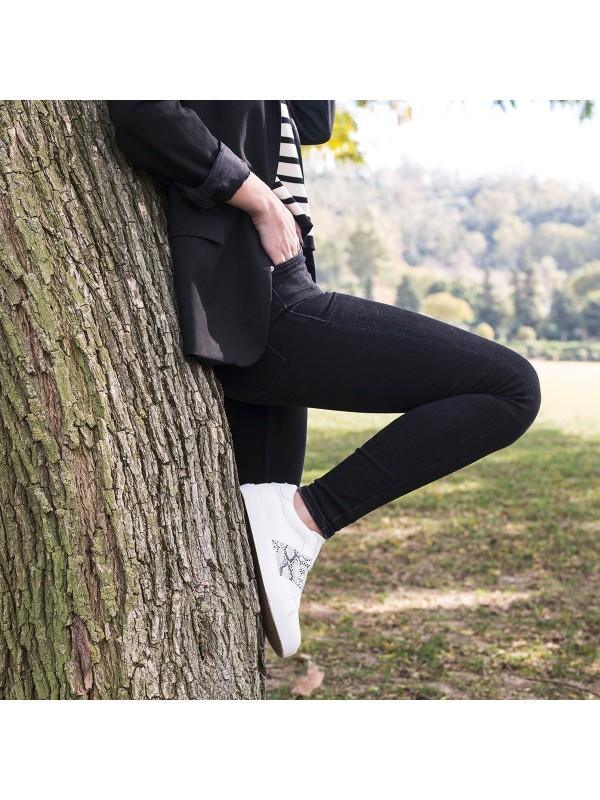 Deportivas de mujer blancas animal print, bambas blancas elásticas de mujer, zapatillas deportivas baratas de mujer