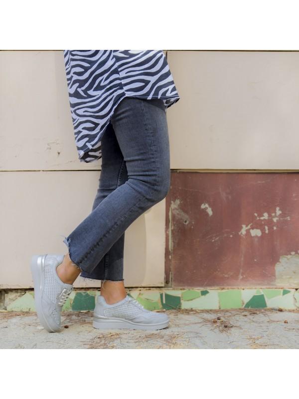 Deportivas de piel mujer, sneakers de piel plata, zapatillas casual piel picada, zapatillas deportivas baratas de mujer