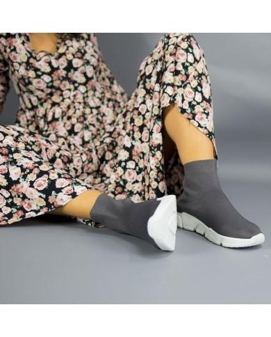 Botín deportivo elástico gris para mujer, deportiva calcetín, zapatilla deportiva elástica barata