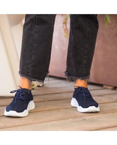 Deportivas de mujer azules con plataforma, zapatillas de malla con plataforma, zapatillas deportivas baratas de mujer