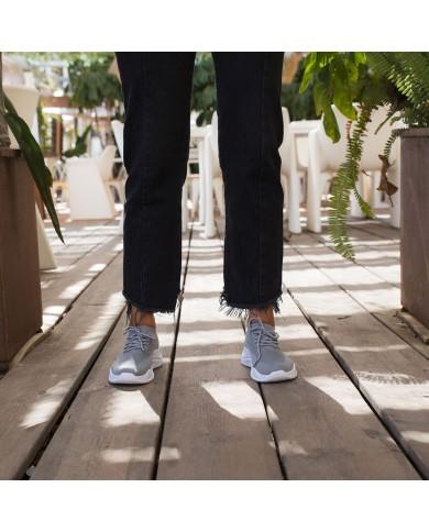 Deportivas de mujer gris con plataforma, zapatillas de malla con plataforma, zapatillas deportivas baratas de mujer
