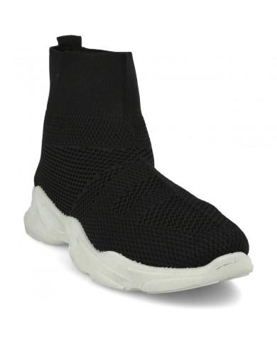 Botín deportivo elástico negro para mujer, deportiva calcetín, zapatilla deportiva elástica barata