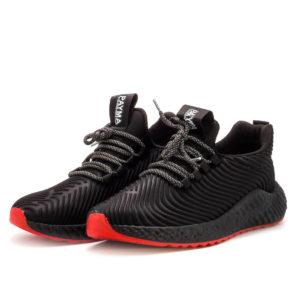 zapatillas deportivas de hombre negras con cordones y suela roja